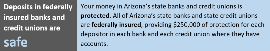 Deposits in federally insured banks and credit unions are safe