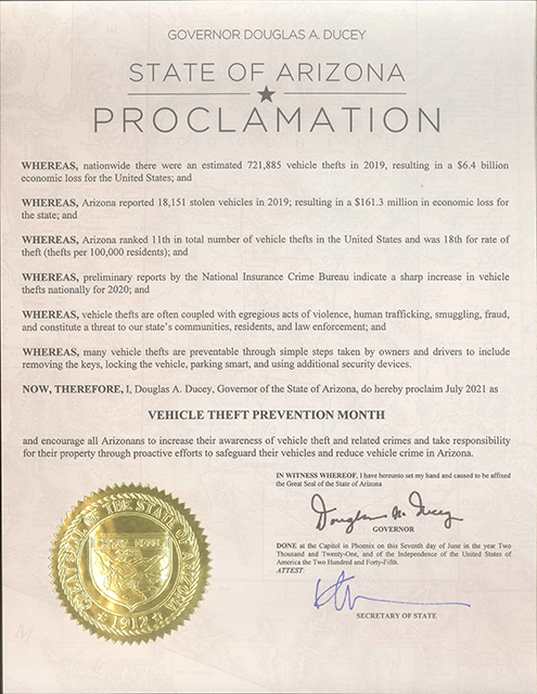 Governor Ducey's Proclamation  July Is Vehicle Theft Prevention Month -